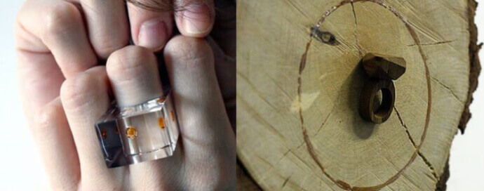 Adam Kaczmarek:on the left a plexiglass ring, on the right a ring made of wood