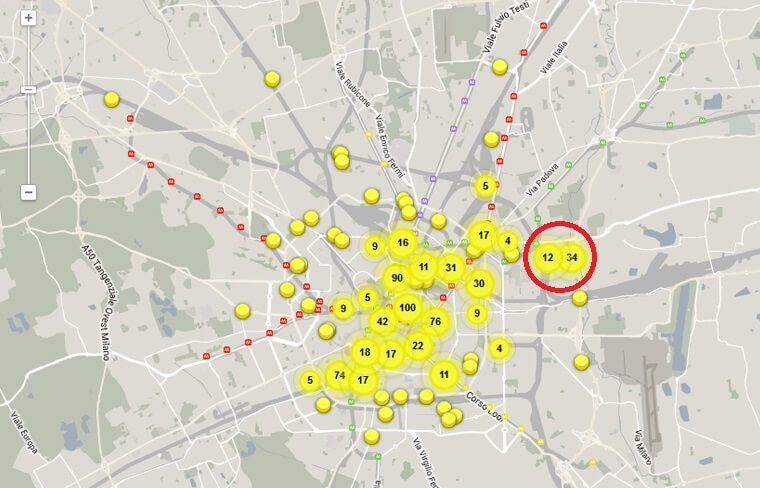 A map from website: http://fuorisalone.it/2015/